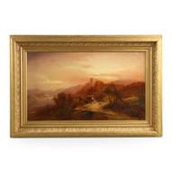 Barbizon School Landscape Painting of Figures at Dusk, 19th Century