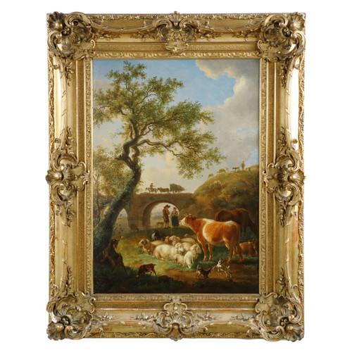 Fine and Rare Landscape Painting of Farm Animals by Jean-Baptiste de Roy c. 1798