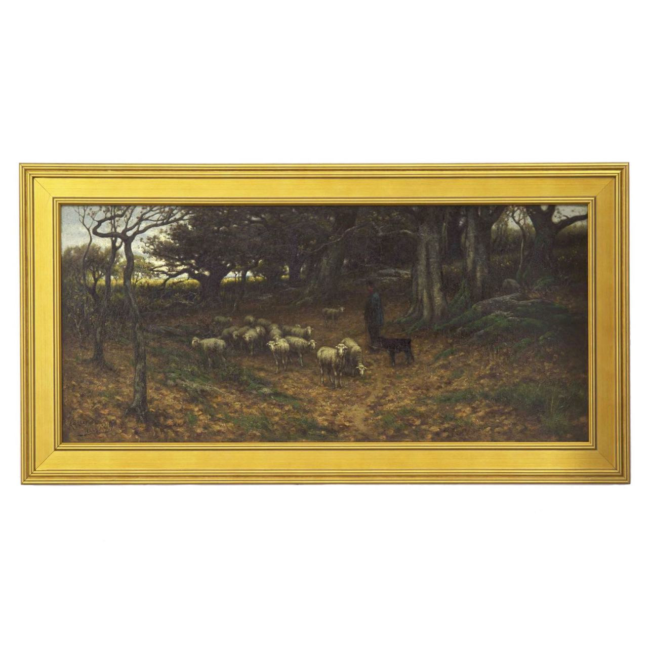John Carleton Wiggins Antique Landscape Oil Painting Of Sheep C 1883