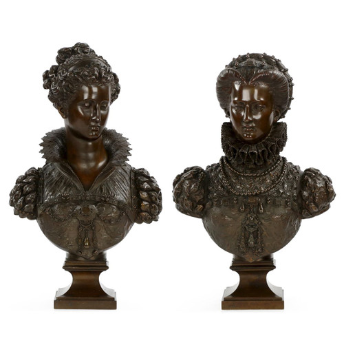 Mathurin Moreau (French, 1822-1912) Pair of Bronze Renaissance Busts