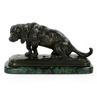 """Antoine-Louis Barye Bronze Sculpture of """"Basset Assis"""", Barbedienne"""