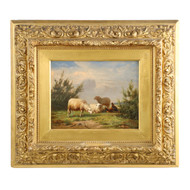 Painting of Sheep and Chickens by Eugene Verboekhoven