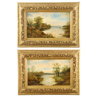 Pair of English School (19th Century) Lake Landscape Paintings