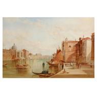 """Alfred Pollentine (British, 1836-90) """"Grand Canal: San Simeone Piccolo"""""""