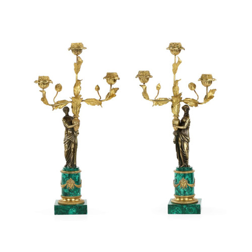 Superb Empire Style Malachite and Bronze Candelabra, 19th Century