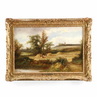 British School Landscape Painting of Harvest Time, 19th Century