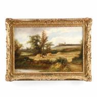 British School Landscape Painting of Harvest Time, 19th Century
