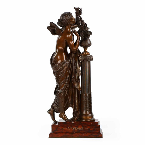 "Antique French Bronze Sculpture of ""L'Aurore"" by Mathurin Moreau c. 1880"
