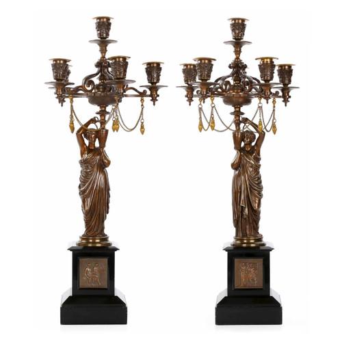 Pair of Napoleon III Six-Light Figural Candelabra by Ferrat c. 1870