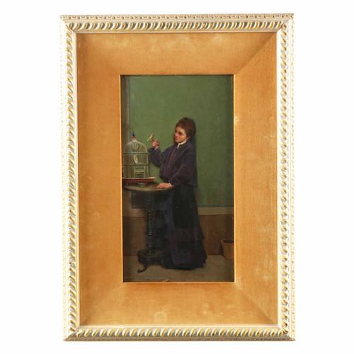 """Woman with Yellow Canary"" attr. Alfonso Savini (Italian, 1836-1908)"