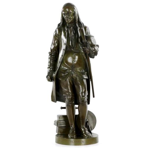"""Jean-Jules Salmson (French, 1823-1902) """"Benjamin Franklin"""" Bronze"""