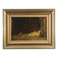 """Frans Lebret (Dutch, 1820-1909) Painting """"Sheep, Cow and Chickens"""""""