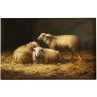 Belgian Painting of Three Sheep in Barn by Albert Smets c. 1878