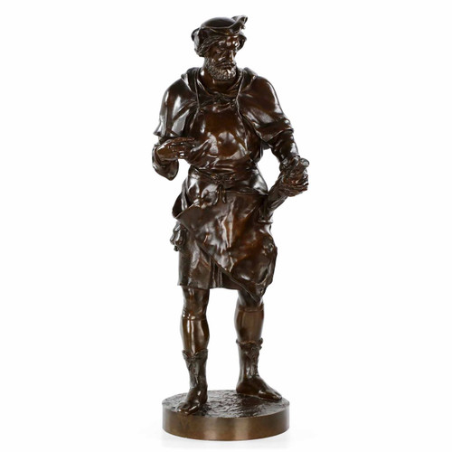 """Imagier, 15th Siécle"" Bronze Sculpture by Emile Picault (French, 1839-1915)"