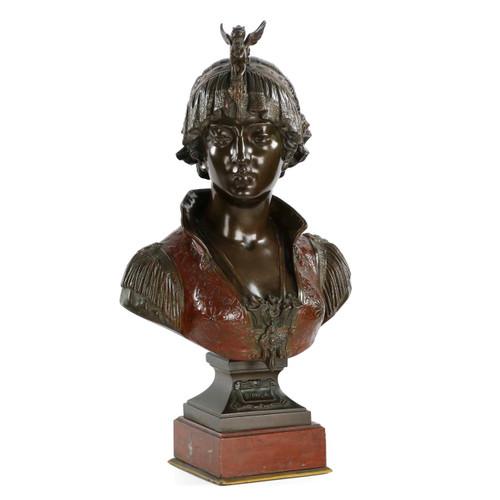 Fine Art Nouveau Cold Painted Bronze Bust of Bianca by Cesare Ceribelli
