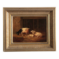 Eugene Verboeckhoven (Belgian, 1798-1881) Painting of Barn Interior