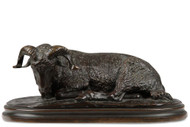 Rosa Bonheur (France, 1822-99) Resting Ram Original Antique Bronze Sculpture