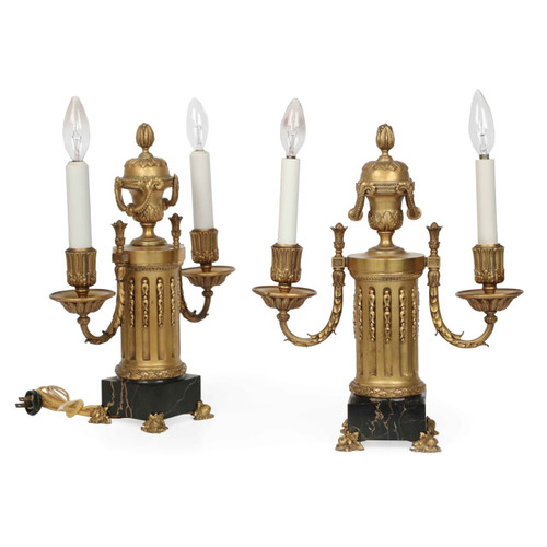 Fine Pair of E.F. Caldwell Gilt Bronze Two-Light Lamps circa 1900