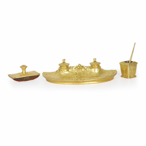 Belle Époque Gilt Bronze Desk Writing Set by Armand Guénard for Susse Freres