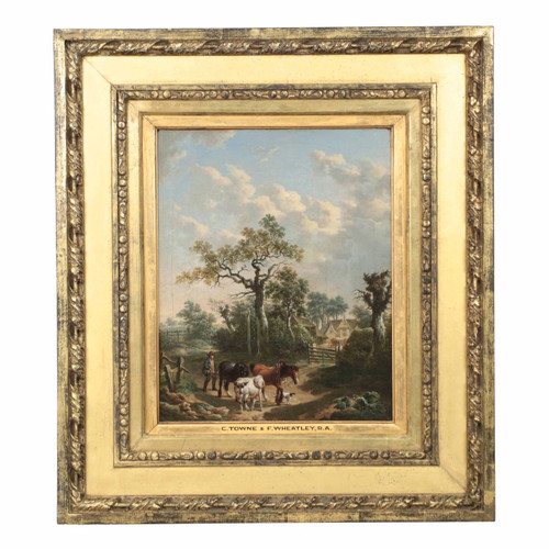 British School (19th Century) Genre Painting of Farmer and Animals