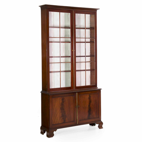 George III Crotch-Mahogany Bookcase Cabinet, England c. 1780
