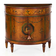 A Finely Painted Adam's Style Demilune Cabinet by William F. Wholey