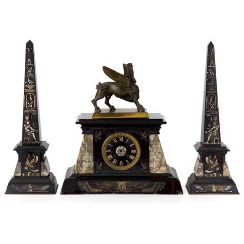 Egyptian Revival Three-Piece Garniture, France c. 1880