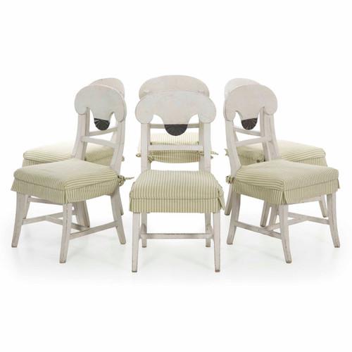 Set of Six Swedish Gustavian Style Dining Chairs, 20th Century