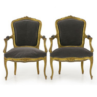 Pair of French Louis XV Style Giltwood Fauteuils circa 1900