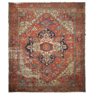 Worn Antique Heriz Rug with Serapi Colors circa 1900