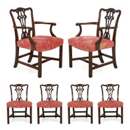 George III Style Carved Mahogany Dining Chairs - Set of 6