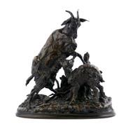 Pierre-Jules Mene Bronze Group of Goat And Kid