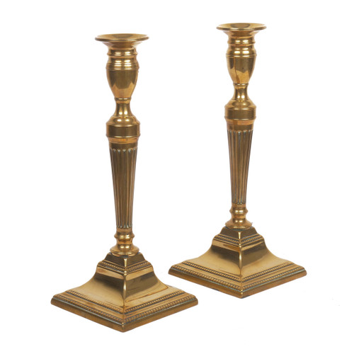 Pair of English Neoclassical Fluted-Stem Candlesticks