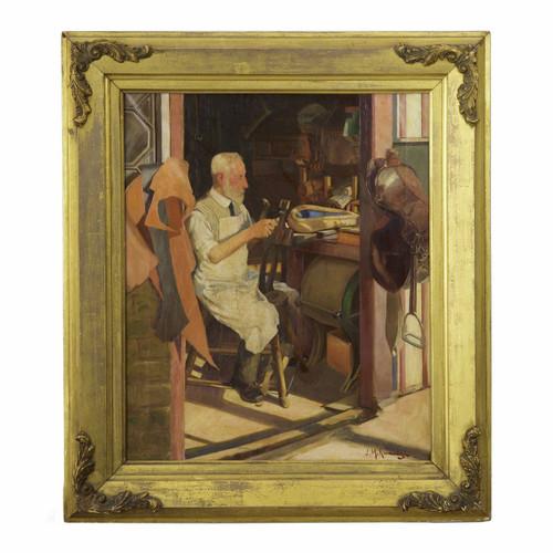 """Saddlemaker's Shop"", oil painting on canvas | Joseph Kavanagh R.H.A. (Irish, 1856-1918)"