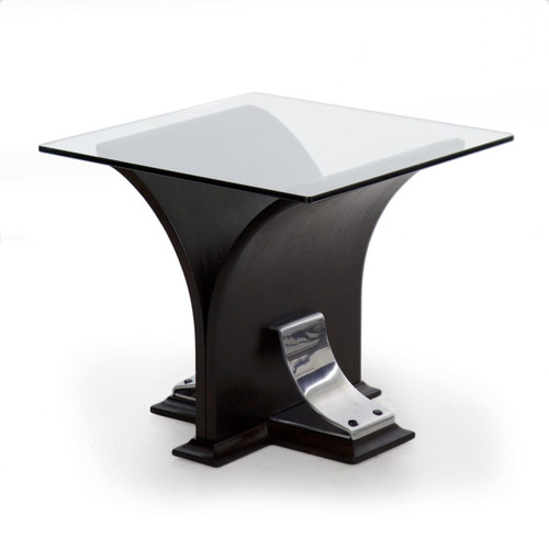 Art Deco Ebonized Walnut, Aluminum and Glass Side Table