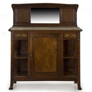 French Art Nouveau Walnut Marble Top Server circa 1900