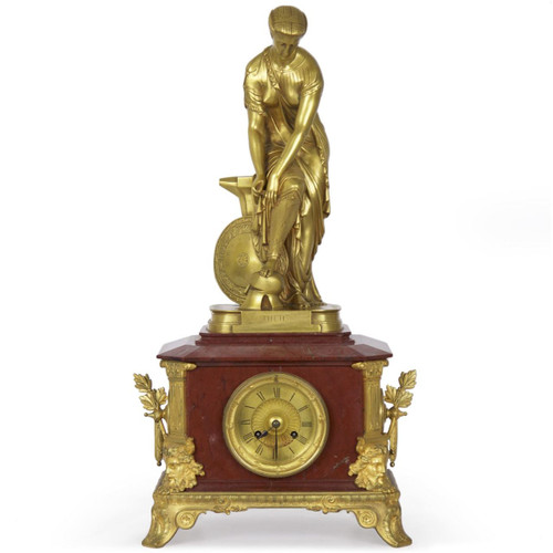 """Thetis"" Gilt Bronze Sculpture Mantel Clock 