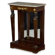 Egyptian Revival Gilt Bronze Mahogany Pier Table, 19th Century