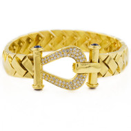 Woven Gold Bracelet with Diamond and Sapphire Horseshoe Clasp