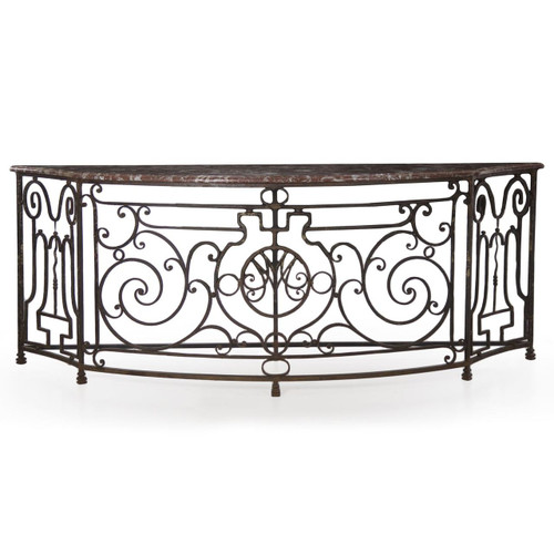 """An unusual work of art in wrought iron, this twisting form is massive with a full width of over 105""""."""