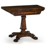 An exceptional and unusual card playing table from the second quarter of the 19th century, this very fine presentation piece is dressed in beautifully patinated rosewood veneers throughout.