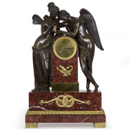 Restauration Bronze Figural Mantel Clock of Psyche & Cupid, Paris circa 1825