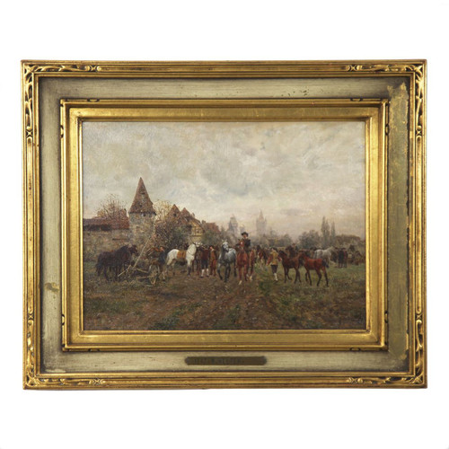 Typical of work by Velten, this small oil panel is tightly and precisely painted with such an exquisite level of detailing; it is a highly complex scene with nearly a dozen figures and nearly as many horses in the fore and mid-grounds.