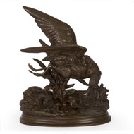 Exquisitely chiseled and cast, as is almost always the case with lifetime works by Moigniez, this fine cabinet bronze is full of life and motion.