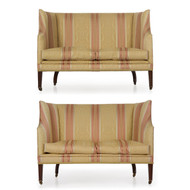 This excellent pair of George III canapé sofas are a picture of simplicity and angularity