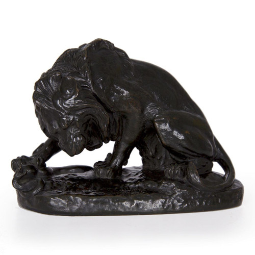Barye's Lion Crushing a Serpent helped establish his reputation when he presented the work as a plaster model at Salon in 1833 along with nine other works.