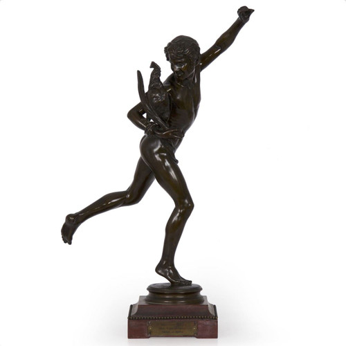 """Arguably one of the most critical sculptures to launching his career, Falguiére's work """"The WInner of the Cockfight"""" was reminiscent in motion and form by the circa 1564 sculpture of """"Mercure"""" by Italian sculptor Jean de Bologne."""