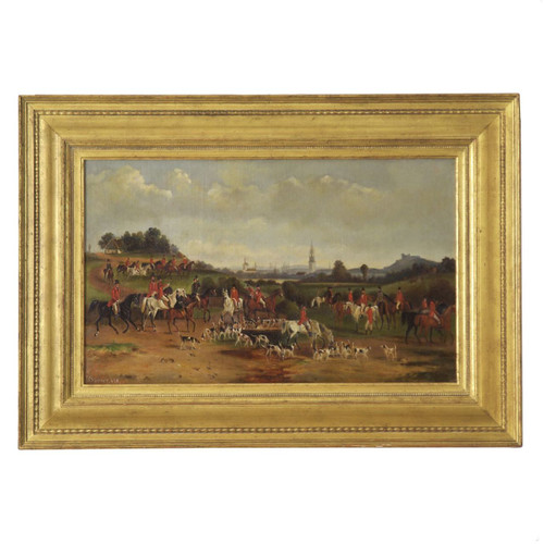 "A sprawling and complex sporting scene by unknown British artist ""T. Gassner"", the painting captures a wide swath of countryside with spires of various town buildings peering over the horizon with hints of mountains in the far distance before an open meadow where the riders gather for the hunt."