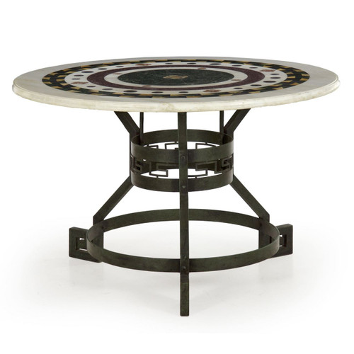 An exceptional center table with a striking blend of the modern and historical, the angular Greek-key form bronze base was likely crafted during the first half of the 20th century and is finished in an attractive green verdigris patina.