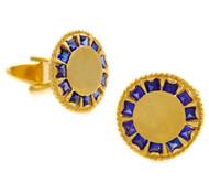 Pair of Lucien Piccard 14K Gold & Blue Sapphire Cufflinks